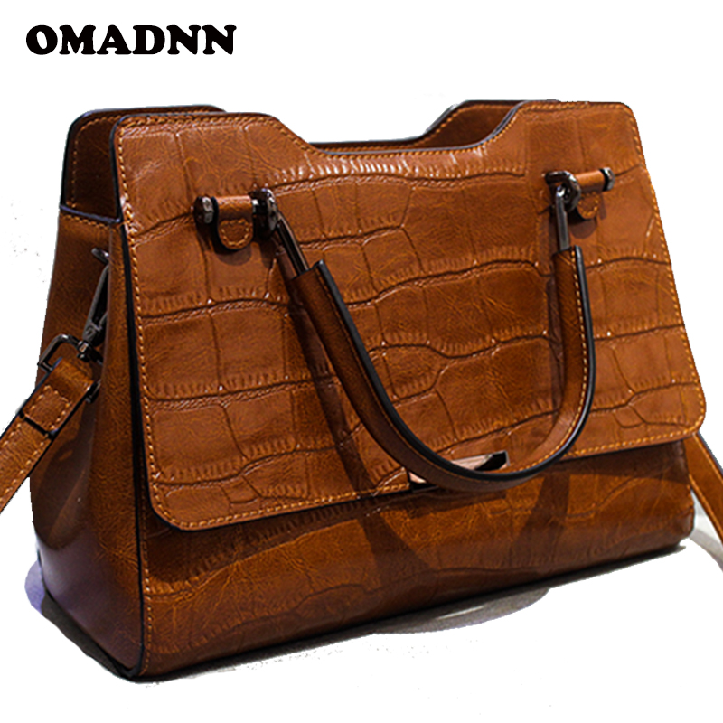 OMADNN Brand Womens Handbags Classic fashion Shoulder Bags All-match High Quality Split Leather Crossbody Bags Casual Tote  bag<br>