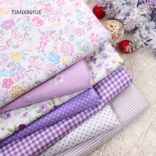 Purple flower fabric 7pcs 40cm*50cm Cotton Fabric For Sewing Quilting Patchwork rose fabric home Textile Tilda Doll Body Cloth(China)