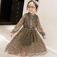 New 2017 Girls Chiffon Dress Kids Long Sleeve Dress Children Toddler Floral Dress Baby Pleated Dress,3-12Y