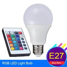 RGB LED Bulb Light E27 3W 5W 7W Led Dimmable Bub Multiple Colors Change+IR Remote Controller Light RGB Lampada de Led Para Casa