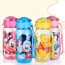 400ML  Mickey and Minne  cartoon creative children Straw cartoon cup plastic cup sports bottle