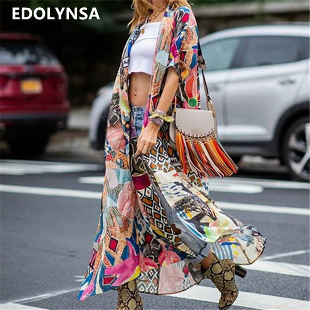 2019 Bohemian Printed Half Sleeve Summer Beach Wear Long Kimono Cardigan Cotton Tunic Women Tops Blouse Shirt Sarong plage N796(China)