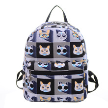 2017 fashion cute small student School Bag Teenagers printed pattern canvas women backpack girl preppy style lady daypack