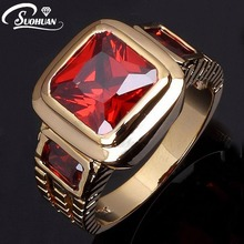 Wholesale Fashion Imitation Jewelry Male Super Red Garnet Men rings 18 K  Gold Filled Ring for men Gift R048