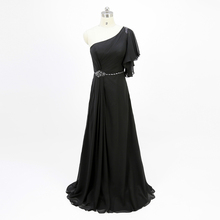 Black Bridesmaid Dresses Long One Shoulder Elegant Plus Size Mother Of the Bride Dress Wedding Guest Chiffon B2276