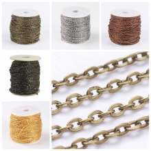 3x2x0.6mm Iron Cross Chains, Oval, Come On Reel, Popular for Jewelry Making, Important Decoration, Silver; 100m/roll