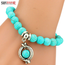 SHEEGIOR Boho Vintage Turquoises Charms Bracelet Men Lovely Tree Snake Owl Pendants Bracelets Bangles for Women Bracelet Jewelry(China)