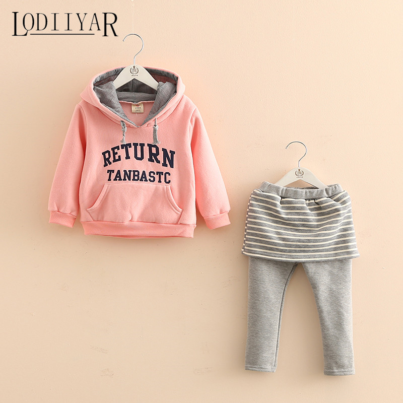 2017 New Children Casual Clothing Set Autumn Winter Kids Letters Hoodies Striped Skirt Leggings Suit Pink Sports Outerwear <br><br>Aliexpress