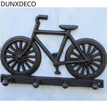 DUNXDECO Retro Country Style Loft Bike Iron Hanger Miniature Model Rusty Wall Hook For Bag Cloth Store Decoration Door Hook Gift