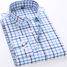 2017 New Main Push Brand Men's Shirt Plaid Shirt Fashion Men's Plaid Shirt Casual Long-Sleeved Men's Dress Shirt Slim Dress Tops