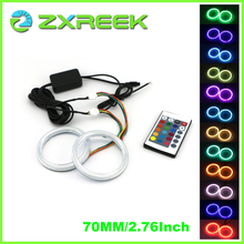 2X 70mm 2.76 Inch RGB Multi-Color COB LED Angel Eyes Halo Ring Cars Headlights Retrofits Marker with IR 24 Keys Controller(China)