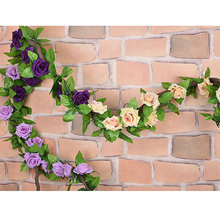 Artificial Fake Rose Flower Ivy Vine Green Leaf Hanging Garland for Wedding Home(China)