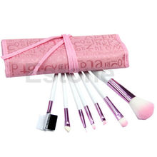 7pcs Natural Makeup Brush Cosmetic Brushes Set Kit Tool Rolling Up Pink Case New #UY283#