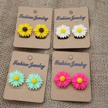 Women Girls Cute Resin Daisy Flower Stud Earrings 5 Colors Lovely Little Floral Earrings Jewelry For Holiday Office Wear Party