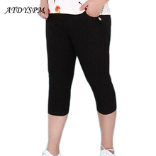 Women  Plus Size 2-6XLCpris Trousers Pencil Pants Elastic High Waist Women Skinny Trousers Capris  White/Dark blue/Black