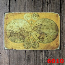 VINTAGE WORLD MAP DESIGN Metal Wall Sticker IRON Plaque PUB Wall Sticker house Tin Signs Shop Decor 20X30CM(China)