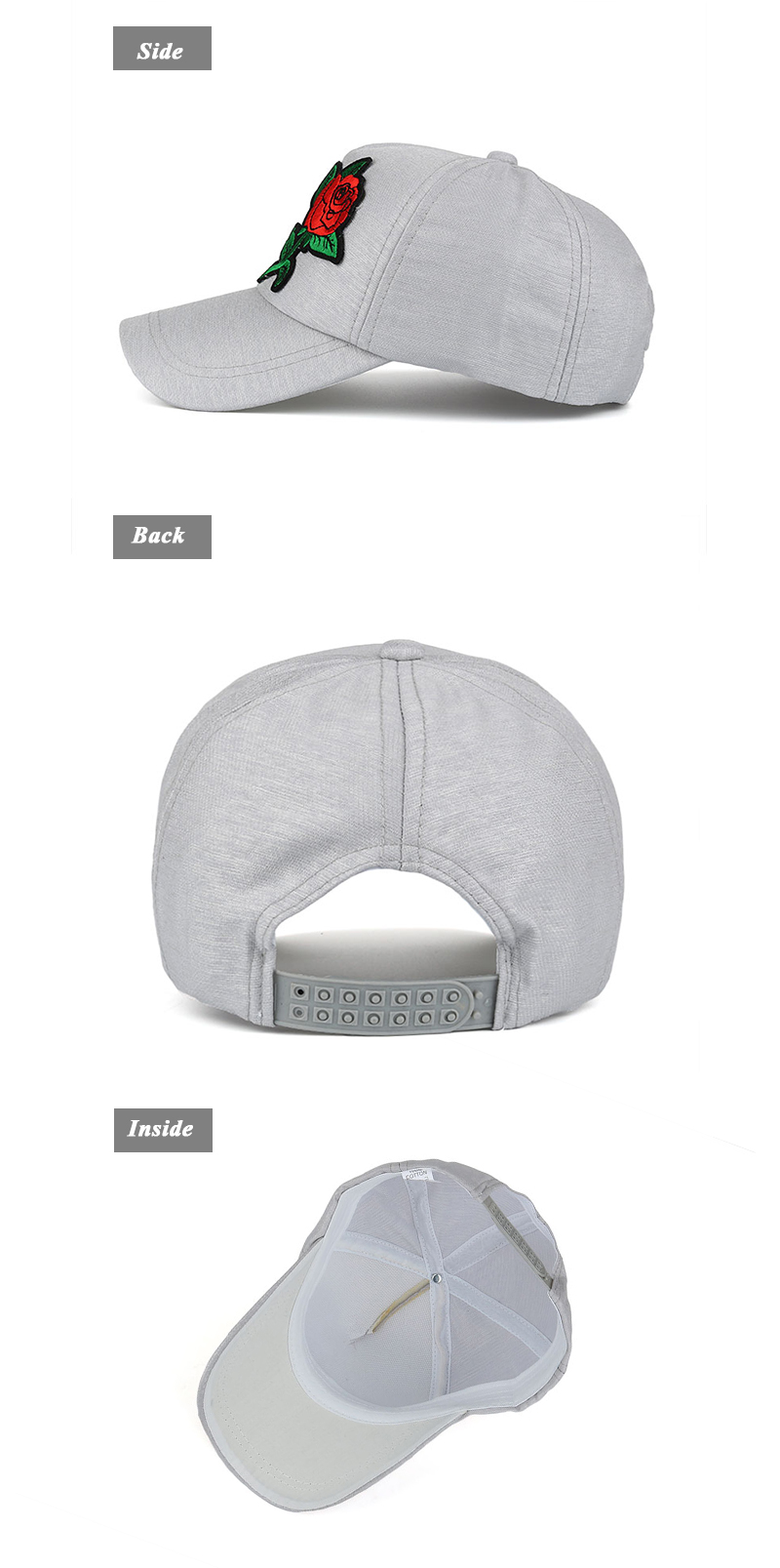 Small Embroidered Flower Snapback Cap - Side, Rear and Inside Views