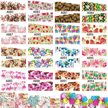 1 Sheets Nail Decals Water Transfer Full Cover Flowers Temporary Tattoos Manicure Stencil Nail Art Tools Stickers A080-096