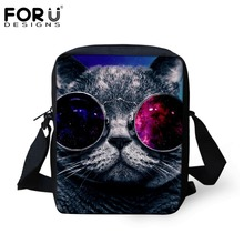 FORUDESIGNS Women Messenger Bags Cool Animal Cat Galaxy Crossbody Bag For Kids Baby Casual Travel Shoulder Iphone Bags Bolsas