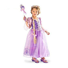Fantasia Vestidos, 2017 Children role play dresses purple dress Rapunzel costume Halloween costume Free Shipping(China)