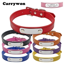 Carrywon Pets Dog Cat Anti-lost Leather ID Collars Engraving Text on Stainless Steel Pet Name Tags Free Customized Address Board(China)