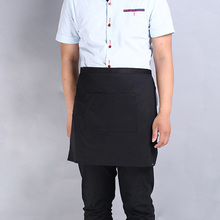 Universal Unisex Women Men Black apron Kitchen Cooking Waist Apron Short Apron with One Pockets Delantal Kitchen Gadgets