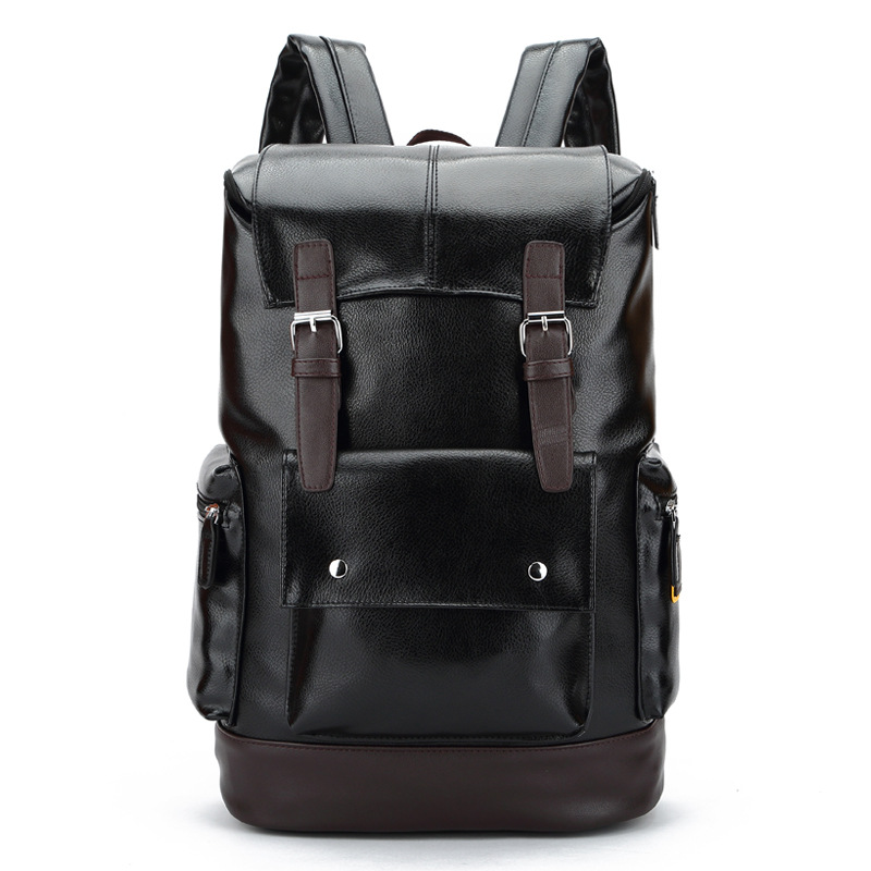Fashion Men Backpacks Korean Style Mens Casual Travel Backpack Large Capacity Pu Leather Bag for College Laptop Bags B15406<br><br>Aliexpress