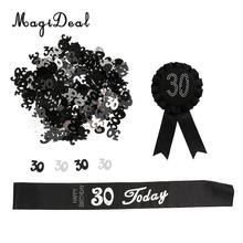 30th Birthday Party Table Confetti+30 Ribbon Rosette+30 Today Satin Sash Celebrative Party Decoration(China)
