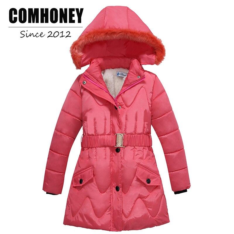 Girls Winter Coat Faux Fur Collar Hooded Teen Cotton Outerwear Long Childrens Winter Jacket Girl Ski Suit Kids ParkaÎäåæäà è àêñåññóàðû<br><br>