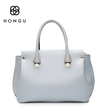 HONGU Luxury Natural Genuine Leather Briefcase Top-handle Bags Women Handbags Messenger Bag Simple Upscale Business Brand Famous(China)
