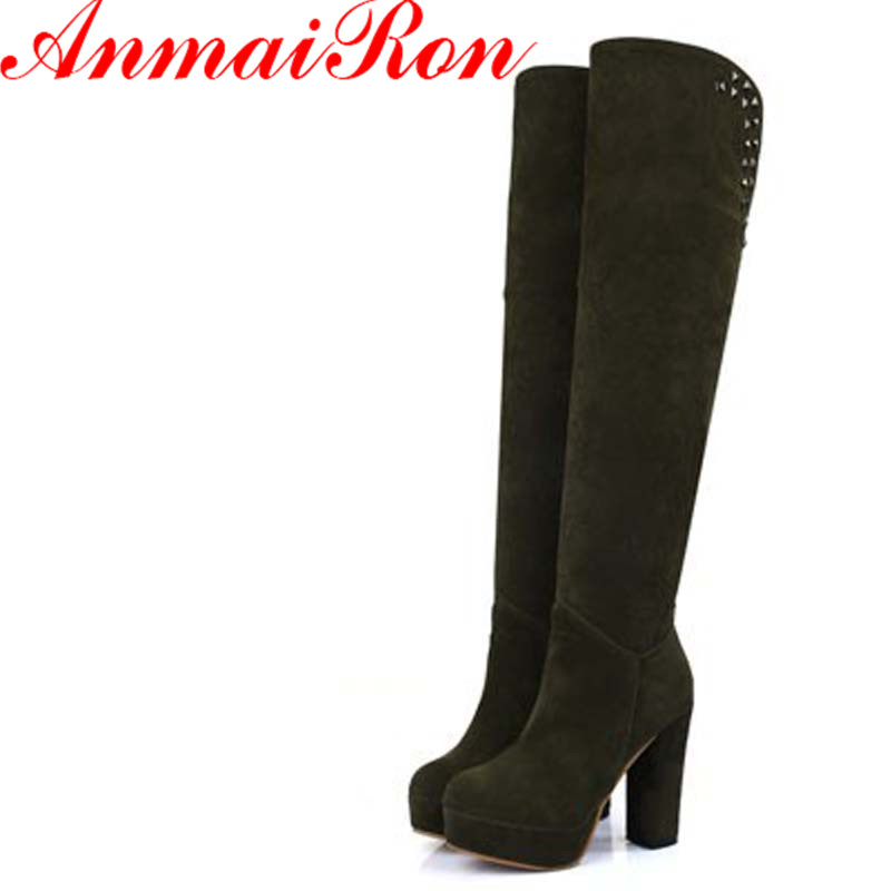 ANMAIRON Knee Boot High Heel Boots Shoes Rivets Women Snow Fashion Nubuck Leather Winter Footwear Flock Warm Long Boot Shoes<br>