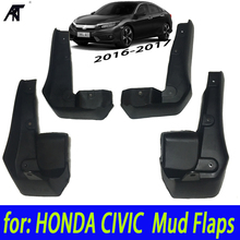 MUD FLAP fit fo: HONDA CIVIC 2016 2017 ALL NEW 4-DOOR SEDAN MUDFLAPS FLAPS SPLASH GUARD MUDGUARDS FRONT REAR FENDER MOLDED SE(China)