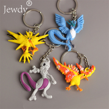 Pikachu Keychain Pocket Monsters Key Holder Pokemon Go Key Ring Pendant 3D Mini Charmander Zapdos Mewtwo Moltres Figure Toys(China)