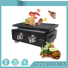Black Epoxy Coated Housing Gas Plancha Outdoor Use BBQ Grills Cooking Area 525*340mm LPG Two Burners(China)