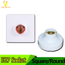 E27 LED Light Bulb Holder Round Square Fitting Socket with Plug Switch E27 Base Hanging Lamp Socket for Home