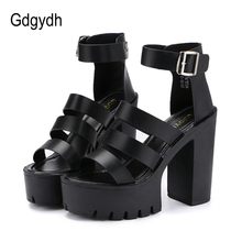 Gdgydh 2017 New Summer Shoes Women White Open Toe Button Belt Thick Heel Wedges Platform Shoes Fashionable Casual Sandals Female(China)