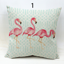 GOOD Quality Flamingo Series Printed Square Cotton Linen Cushion Cover Decorative Sofa Flamingo Cushion Pillowcase Pillow Cover