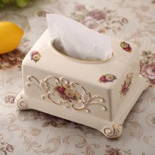 Luxury Ceramic Tissue Box European China Bone Removable Tissue Dase Tissue holders Home Decoration Hotel Supplies Pumping Paper(China)