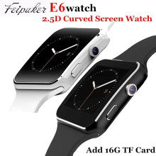 Feipuker E6 Smart Watch On Wrist Bluetooth Wrist Watch For Android For Samsung Huawei Sony English Sim Card Sleep Tracker Adult
