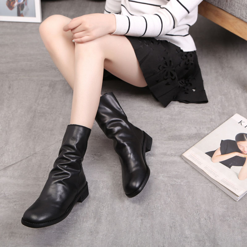Jookrrix New Autumn Fashion Women Boots Zipper Martin Boots Locomotive Boots Genuine Leather Ankle Boots Lady Shoes Female Soft<br>