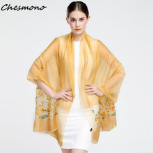Spring Summer Autumn Winter Elegant Silk Scarf For Women Female Lady Girl Flowers Floral Embroidery Shawl Cape Beach Wrap Stoles(China)