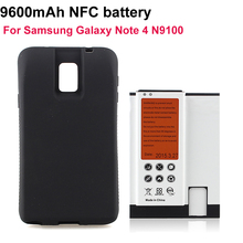 Note4 Cell Phone NFC batteria 9600mAh For Samsung Galaxy Note 4 N9100 Extended Replacement Battery+Black Back Case Cover