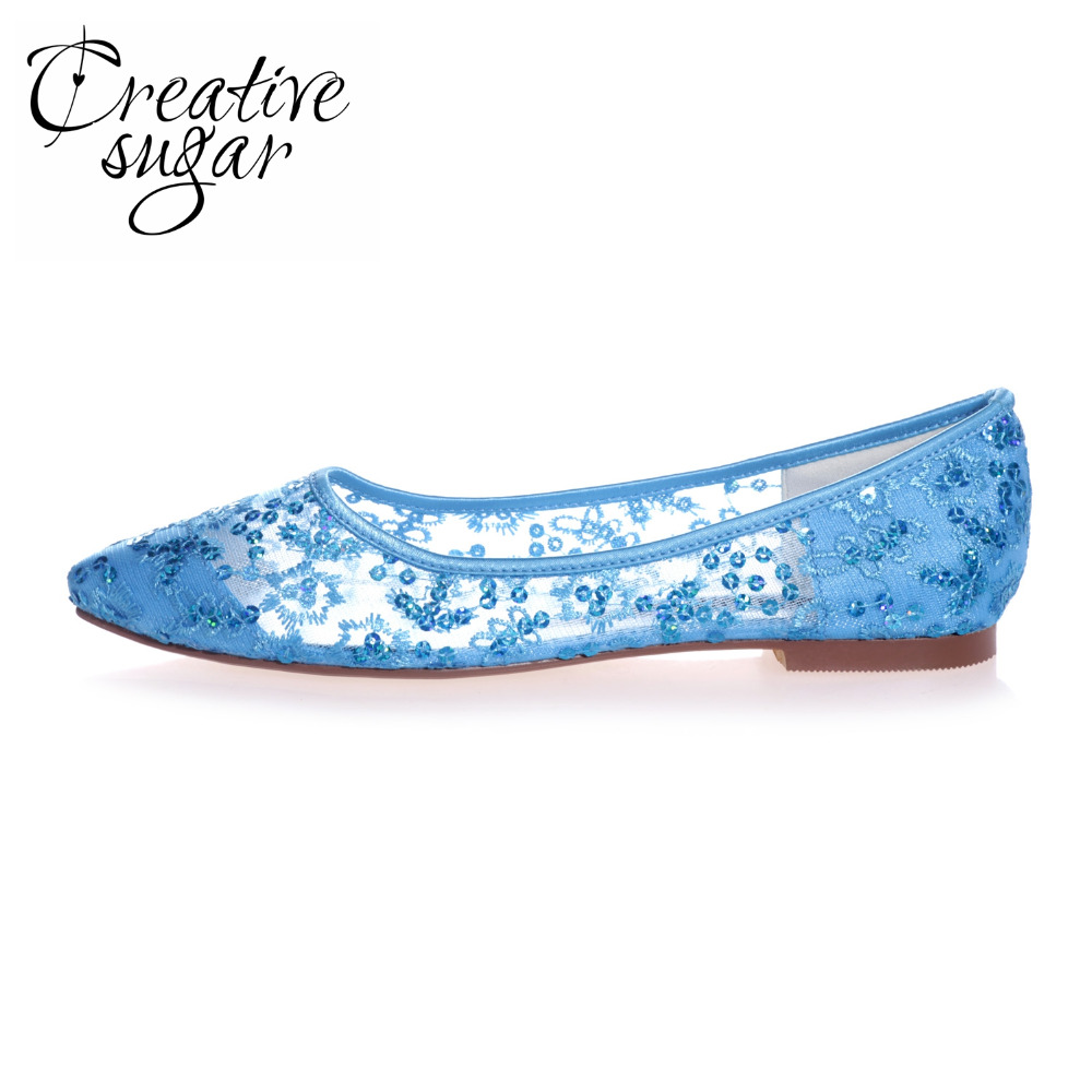 Creativesugar Pointed toe perspective see through lace ballet flats sparkling sequins shoes sky blue pink red ivory white gold<br>