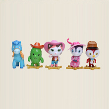 7cm 5pcs/set Sheriff Callie's Wild West Toy Sheriff Callie Cat Toby Horse Peck PVC Figures Model Toys Collectible Gifts for Kids