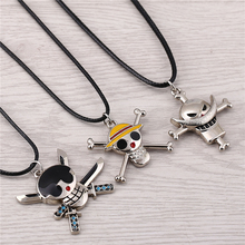 J Store One Piece Alloy Choker Necklaces Luffy White Beard Pirates Regiment Roronoa Zoro Skeleton Skull Necklace