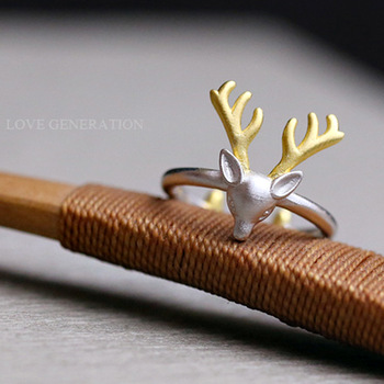 1Pcs 2016 Simple 925 Sterling Silver Deer Antler Ring Stag Reindeer Horn Rings Cute Animal Ring for Women Christmas Gifts Bijoux