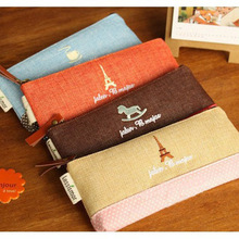Cute Fabric Linen Paris Pencil Case Kawaii Cartoon Pink Trojan Pencil Bag for Girls School Stationery Free shipping 681