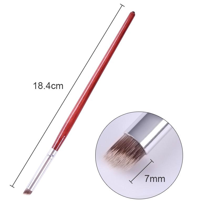 1 Pc UV Gel Gradient Brush Pen Red Wooden Handle Nail Brush Manicure Nail Art Tool