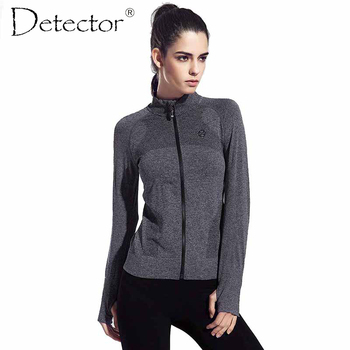Detector mujeres running ropa de secado rápido de manga larga de ropa deportiva chaqueta de aptitud de los deportes femeninos cremallera escudo abrigos