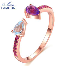 LAMOON 925 Sterling Silver Rings for Women Adjustable Topaz Amethyst Gemstone Fine Jewelry Wedding Ring Anillos Mujer RI043(China)